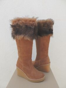 12ae5a5cf5e Details about UGG CHESTNUT VALBERG SUEDE/ TOSCANA SHEEPSKIN WEDGE BOOTS, US  7.5/ EUR 38.5 ~NIB