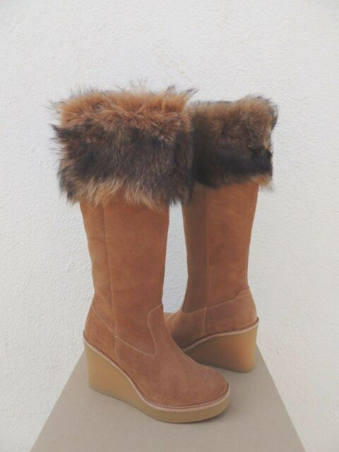 4f7037baaf15 UGG Australia Valberg Fur Cuff Chestnut Suede Knee High Wedge Tall Boot  Size 7.5