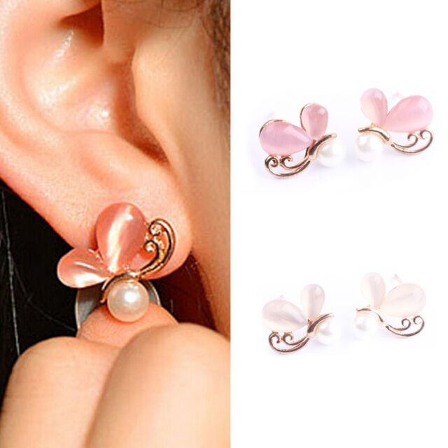 1 Pair New Fashion Cute Ladies Girls Rhinestone Butterfly Ear Stud Earrings