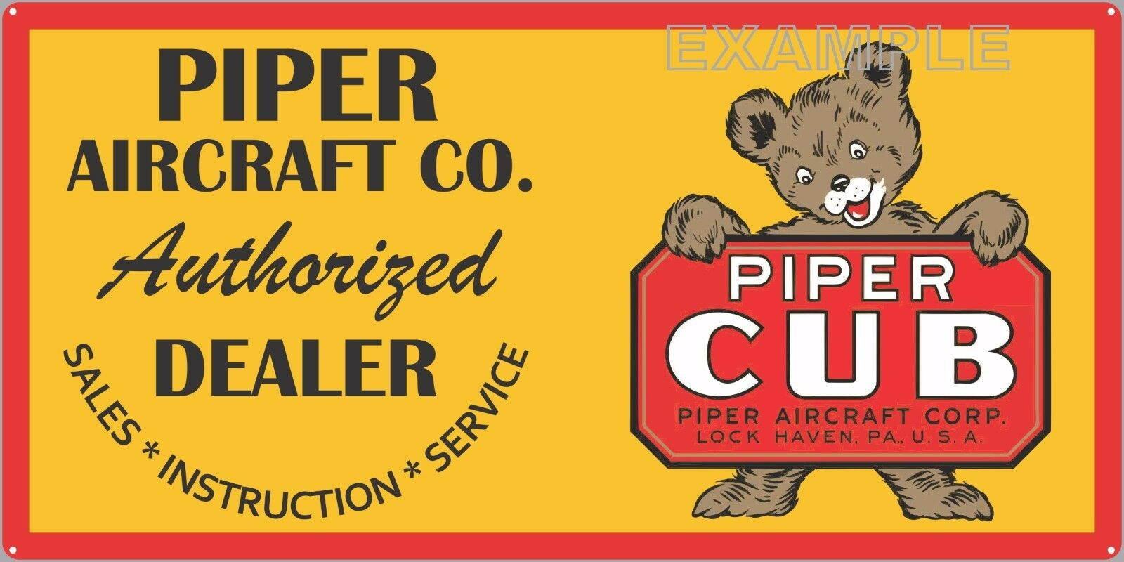 PIPER CUB AIRCRAFT CO OLD SIGN REMAKE ALUMINUM IN OUTDOOR 12  X 24  18  X 36