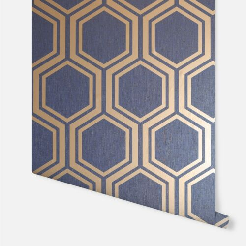 Luxe Hexagon Metallic Silver Gold Retro Textured Quality Wallpaper Wall Covering