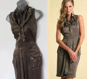 UK-12-Karen-Millen-Khaki-Silk-Military-Trench-Safari-Casual-Day-Wrap-Dress
