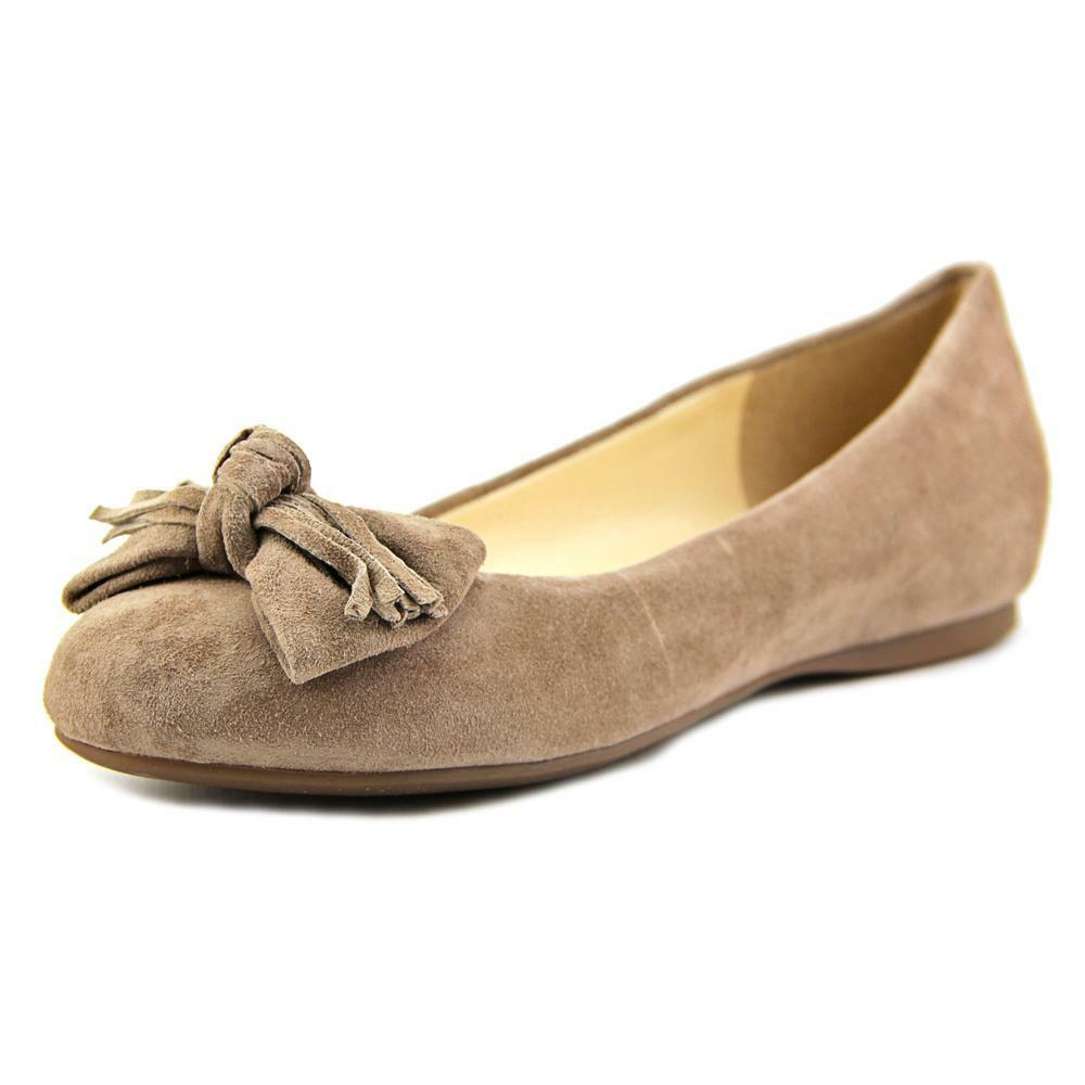 Jessica Simpson Madian 6 M Warm Taupe Beige Suede Fringed Bow Ballet Flat Pumps