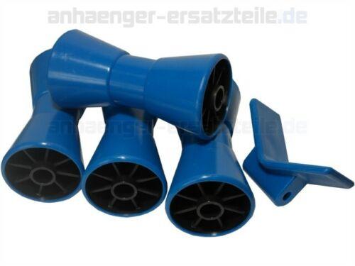 Bughalter  SET für Bootstrailer 4* Kielrolle PE Trailerrolle 1* Bugschutz PE
