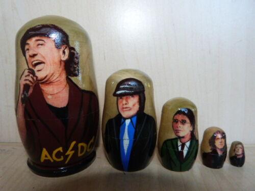 AC//DC RUSSIAN DOLL HAND PAINTED WOODEN BABUSHKA MATRYOSHKA SET OF 5 ROCK BAND