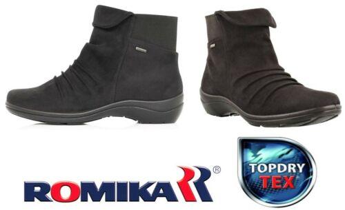 Romika Shoes Germany Waterproof Topdry Tex comfort zip ankle boots - Cassie 48 Black