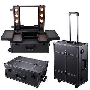 Pro Rolling Studio Makeup Artist Cosmetic Case W Light Mirror Black Train Table