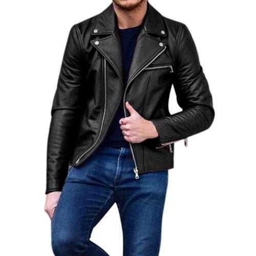 Homme Faux cuir Motard Vestes Ouvert Revers fermetures éclair poches manteau court bon FP