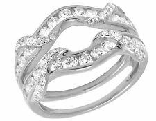 14K White Gold Real Round Diamond Jacket Ring Guard Enhancer 1 1/5 Ct 12MM