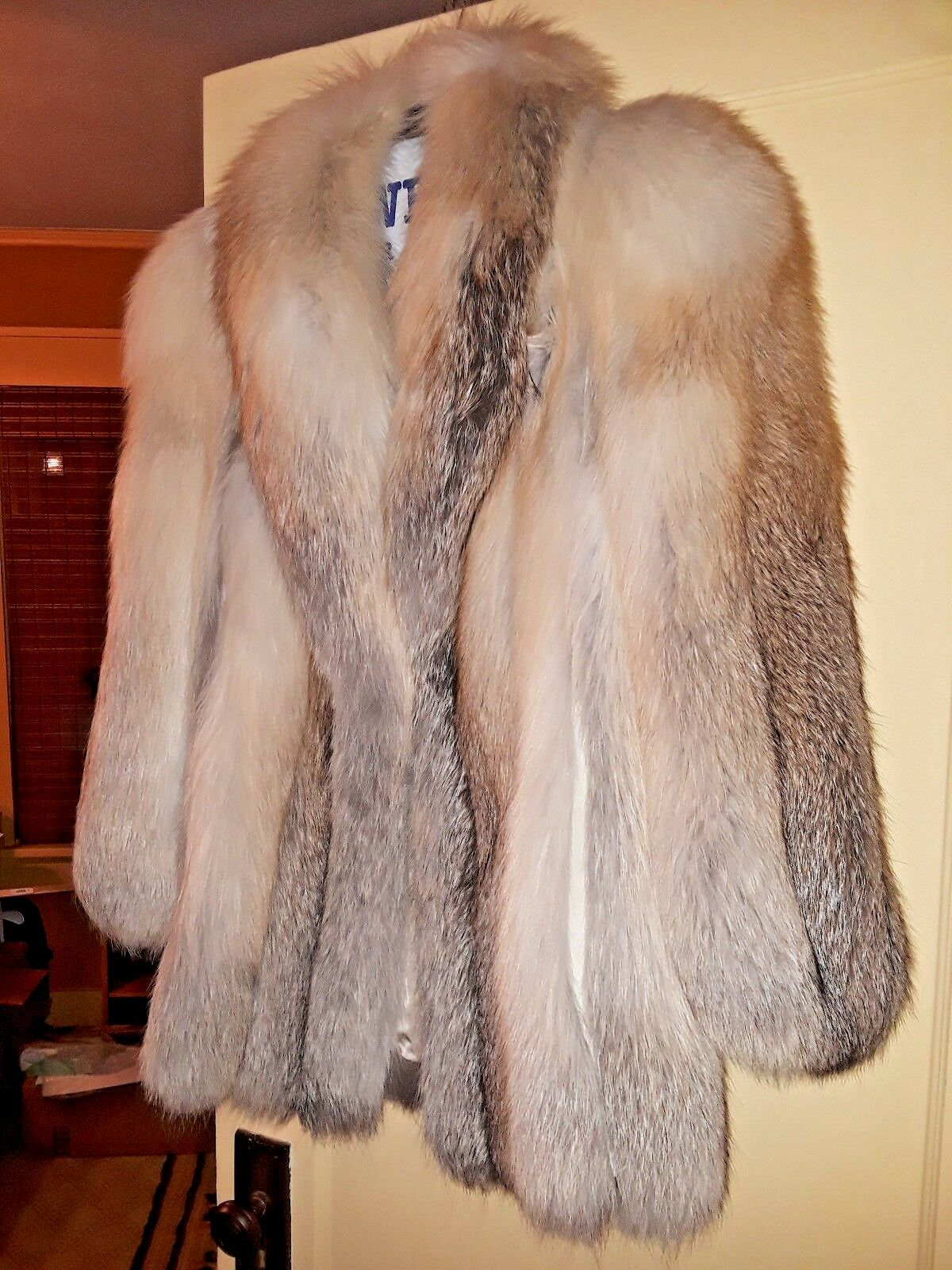 bluee Fox Fur Coat - Stroller Length