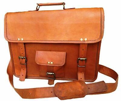 "18/"" Genuine Leather Messenger Shoulder Bag Laptop Case Briefcase Attache"