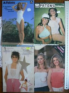 Ladies-Knitting-Togs-Short-No-Sleeves-Patons-amp-Villawool-MultiList-4-Books-S4