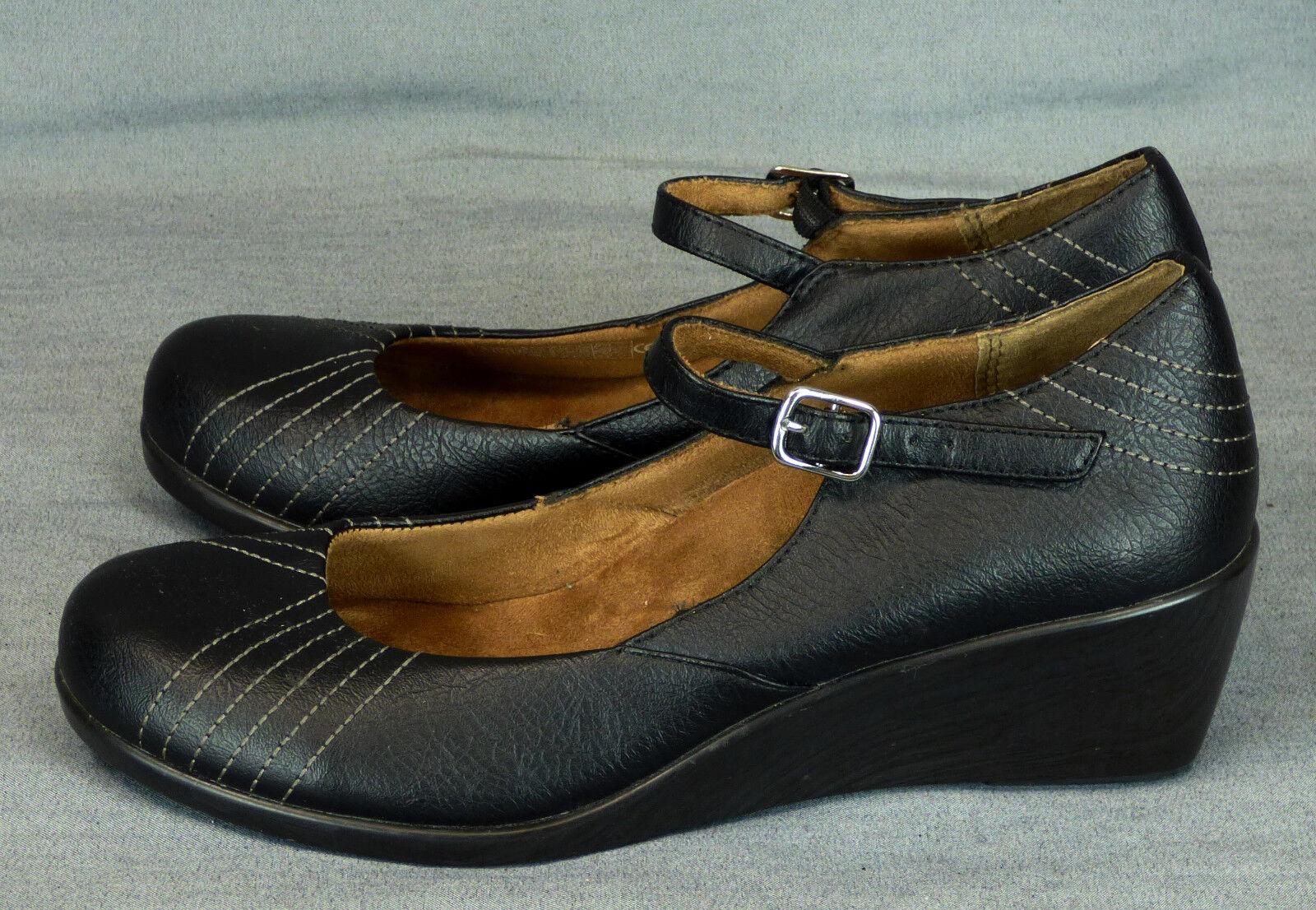 285 Vionic women heels wedge Mary Janes shoes black leather EUC 7.5