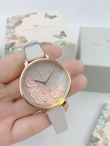 NWT-Olivia-Burton-Womens-Analogue-Quartz-Watch-OB16FS85-Rose-Gold-Dial-Flower