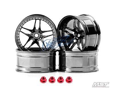 MST Silver black FB RC 1/10 Drift Car Wheels offset 8 (4 PCS) 102061SBK New