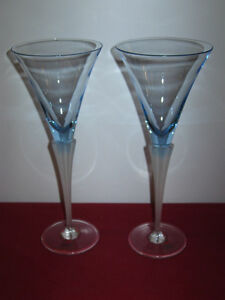 DANIEL HECHTER ---- PALE BLUE, FROSTED STEM WINE GLASSES (2)