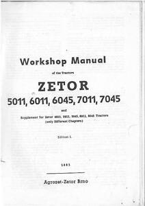zetor tractor 5011 6011 6045 7011 7045 workshop service manual ebay rh ebay com au zetor 7745 workshop manual zetor workshop manual free download