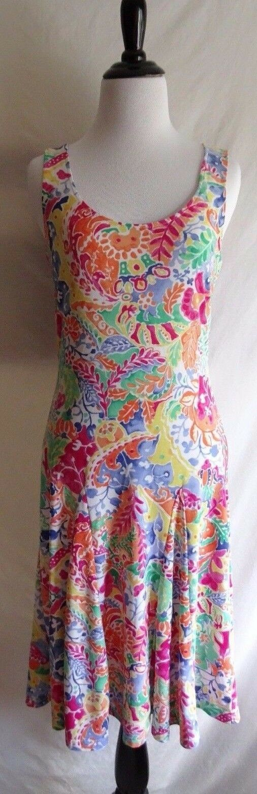 Lauren Ralph Lauren XS colorful colorful colorful Watercolor Flower Print Stretch Summer Dress 93bccc