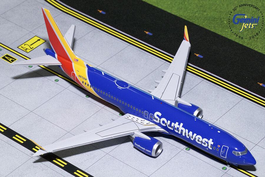Southwest Boeing 737 MAX 8 N8706W Gemini Jets G2SWA757 Scale 1 200