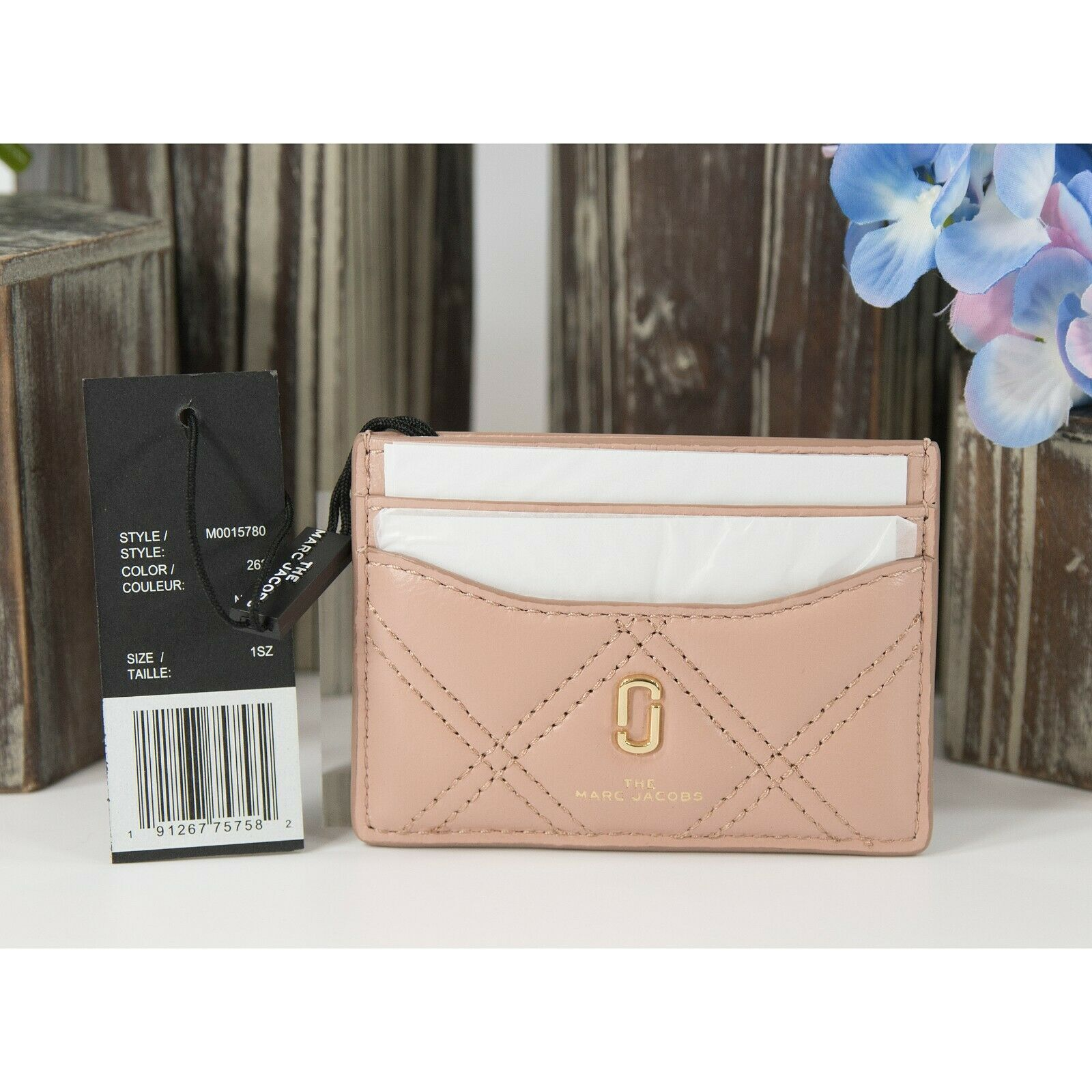 Marc Jacobs The Softshot Seashell Quilted Lambskin Leather Card Case Wallet NWT