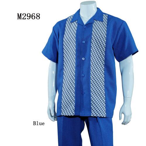 Men/'s Summer 2-PC Casual set Walking Suit Plaid//Solid Design Shirt /& Pants Set
