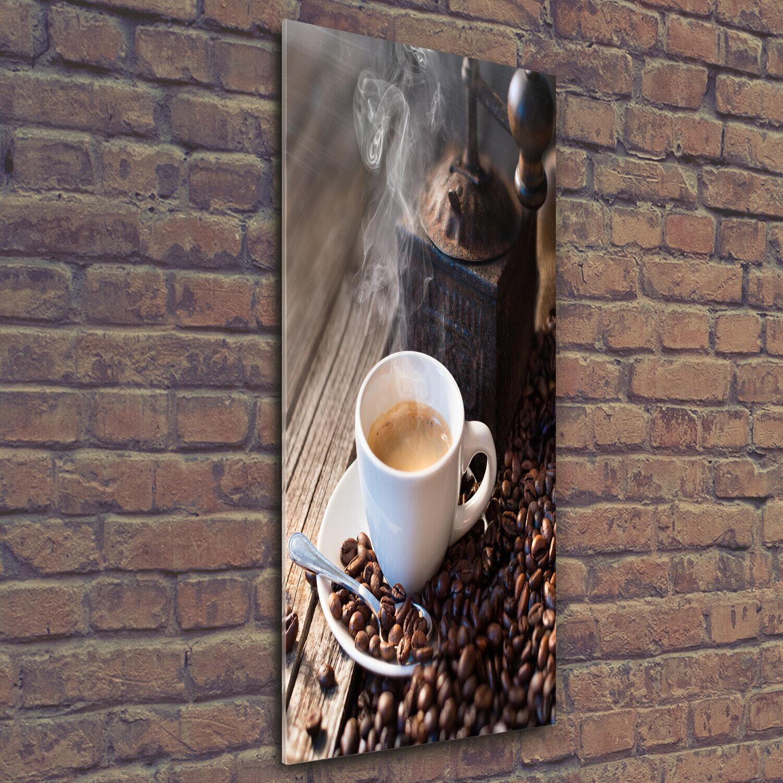 Wand-Bild Kunstdruck aus Hart-Glas Hochformat 50x125 Wand aus Würfeln