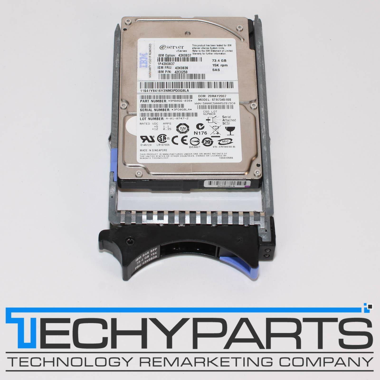 "IBM 43X0839 73GB 15000 RPM 2.5/"" 3Gbps 16MB SAS Hot-Swap Hard Drive"