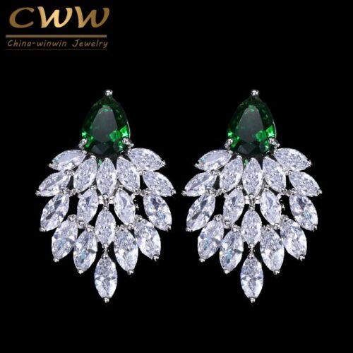 Noble Big Green CZ Pendientes de Plata Navidad regalos para su esposa madre hija de mujer