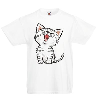 Cat Laughing Kid/'s T-Shirt Children Boys Girls Unisex Top