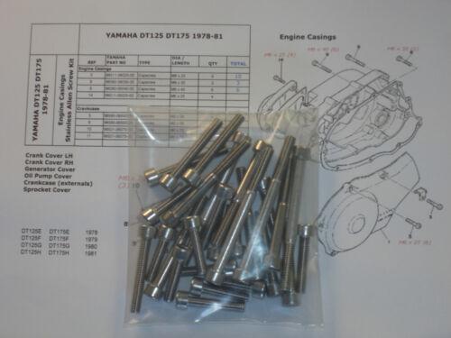 Yamaha DT125 DT175 EFGH 1978-81 Engine Covers 28pcs Stainless allen bolt kit