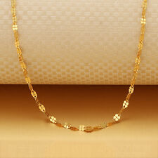 Hot Au750 18k Yellow Gold Necklace Lucky Clover Chain Link 18 Inch