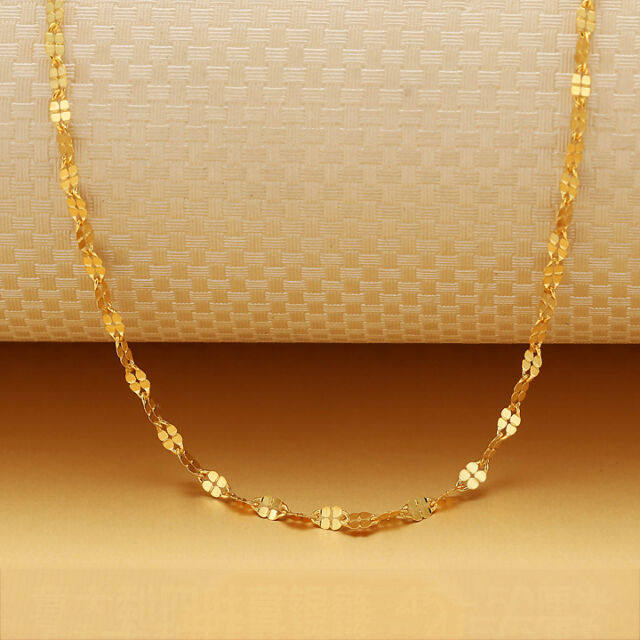 3343fd5a2 Hot Sale Au750 18K Yellow Gold Necklace Lucky Clover Chain Link 18 INCH