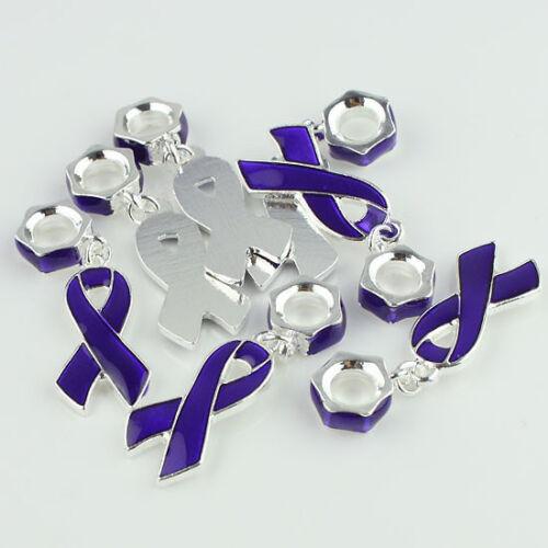 10pcs Tchèque Cristal Émail Ruban sensibilisation au cancer du sein Charme Européen Perles