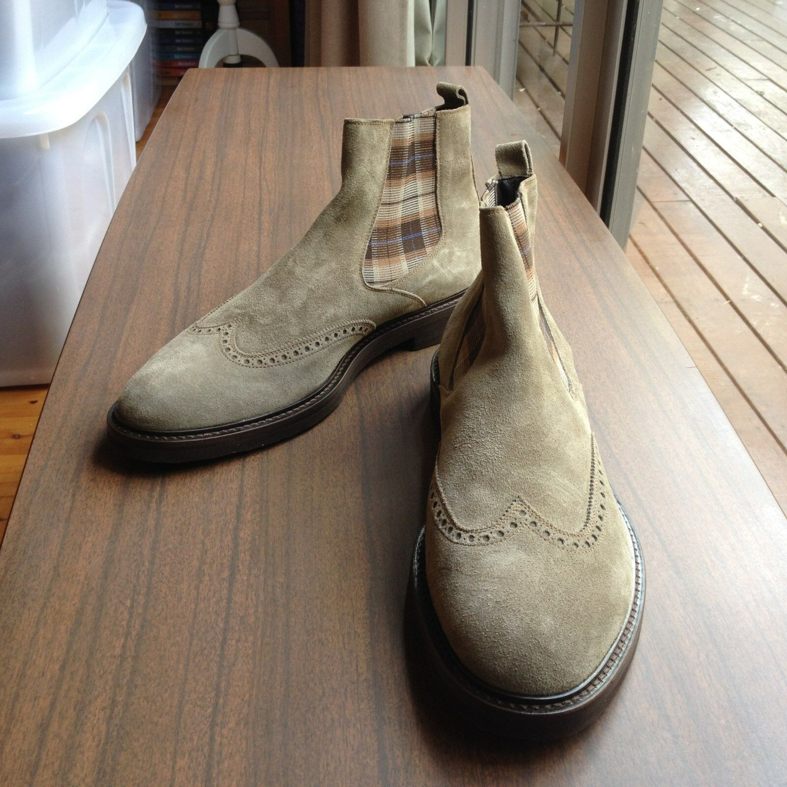 ANTONIO MAURIZI SUEDE BROGUE BOOTS SIZE 44 MADE IN ITALY