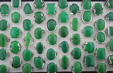 Wholesale Lots 25pcs Oversize Green Gemstone Silver p Lady's Ring
