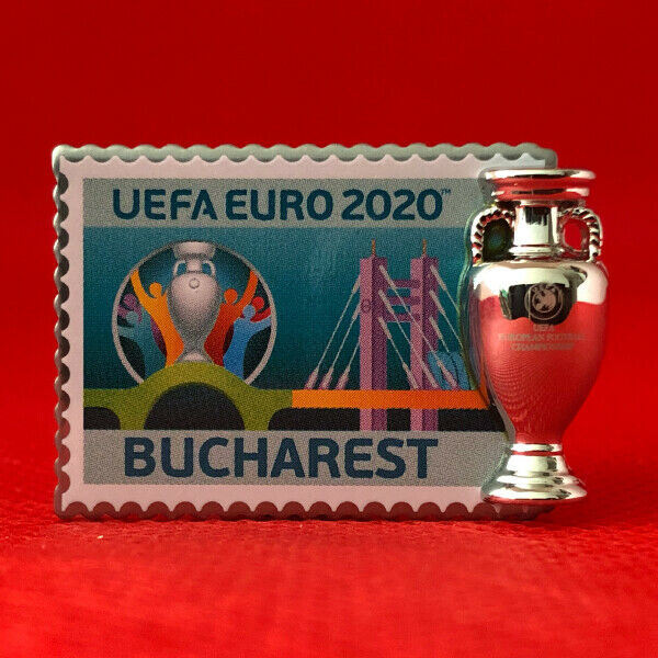 UEFA EURO 2020 PIN BADGE CREST WITH TROPHY BUCHAREST ...