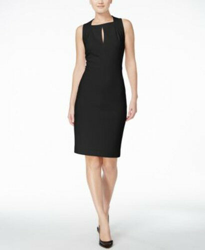 a93b4f8712d Calvin Klein Womens Sleeveless Square Neck Sheath Dress Black 14