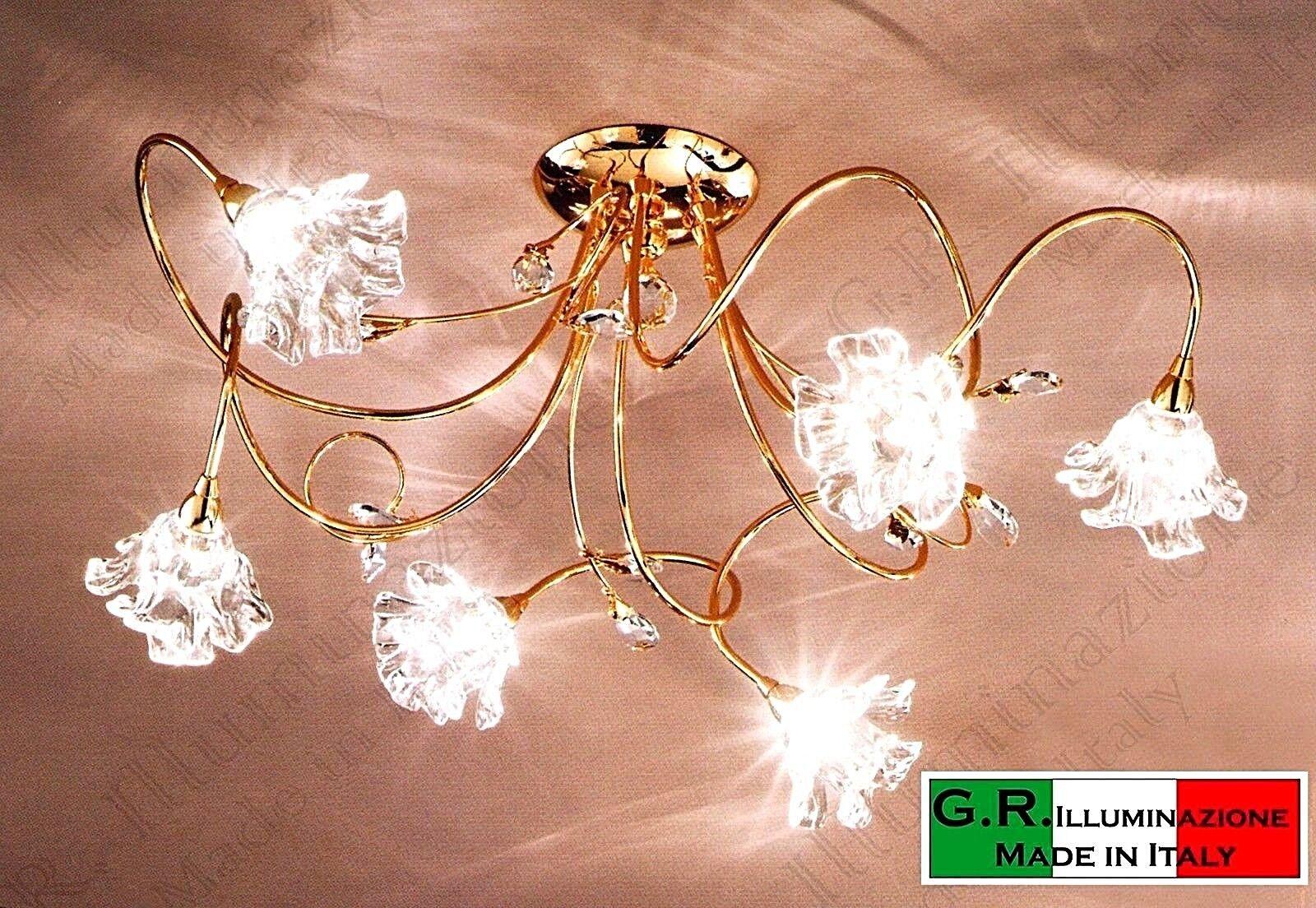 Plafoniere Acciaio E Cristallo : Lampadario plafoniera moderna soffitto 3 luci bagno oro