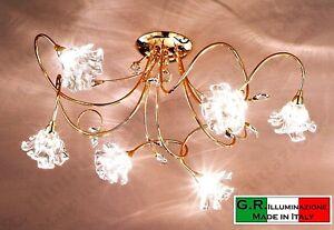 Plafoniere Cristallo Bagno : Lampadario plafoniera moderna soffitto 3 luci bagno oro cristallo