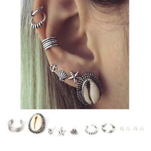 Image Is Loading Vintage Punk Stud Earrings Set Boho Carved Swirls