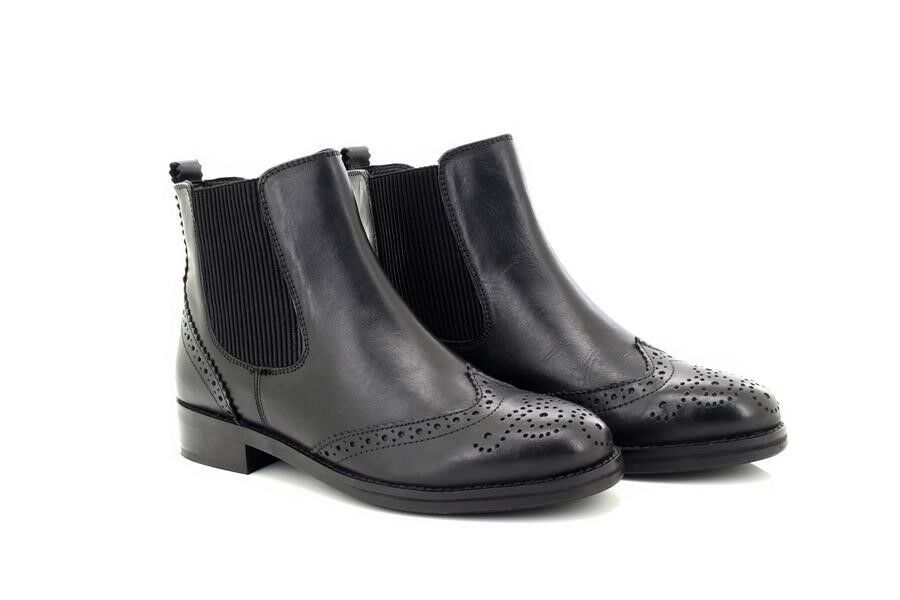 Cipriata Ladies Black Leather Brogue Ankle Ankle Ankle Boots 4dee0b