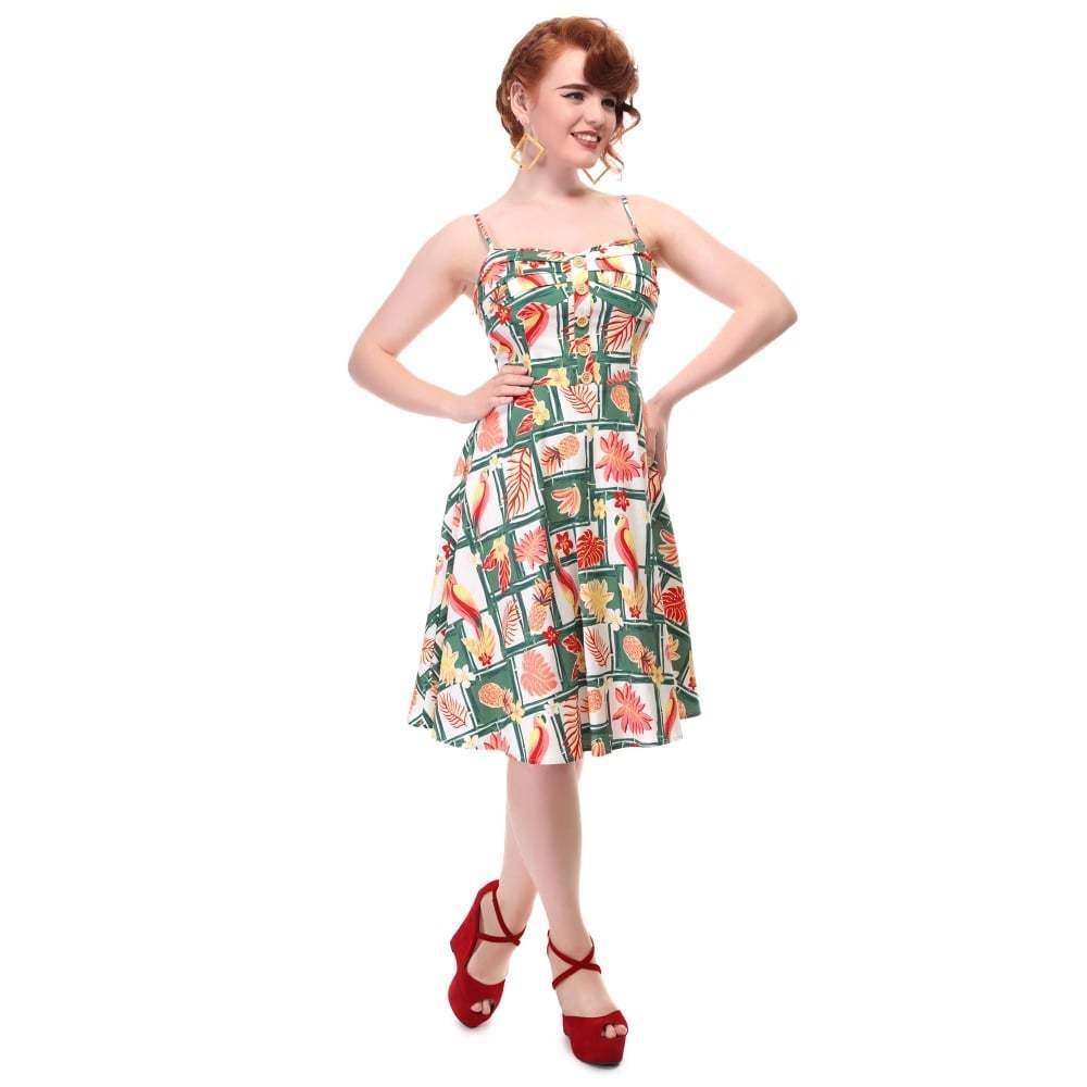Collectif Vintage Fairy Sundress Dress Tropical Bamboo Doll Sz 8 - 22 1950s