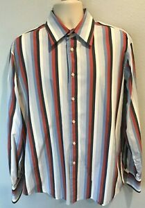 7-Diamonds-Men-s-XL-Long-Sleeve-Red-White-Blue-Striped-button-Front-dress-shirt