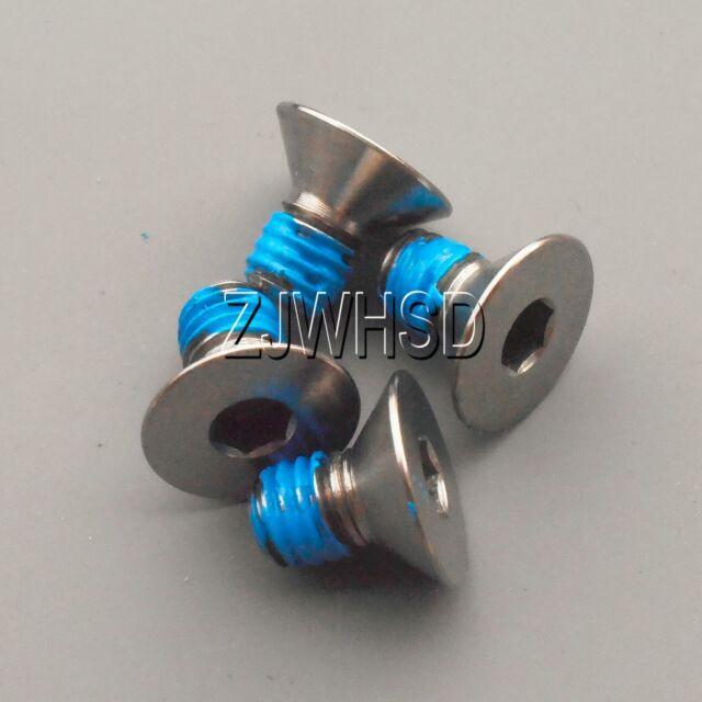 4pcs M5 x 10 Titanium Ti Screw Bolt Allen hex Socket Flat head with ThreadLocker
