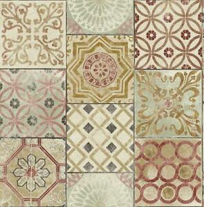 Wallpaper-Faux-Encaustic-Mederterrian-Tile-Multi-Cranberry-Red-Tan-Beige-Aqua