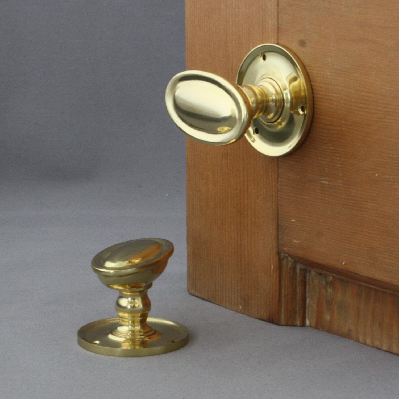 Edwardianisch Messing Oval Tür Tür Tür Griffe f146c1
