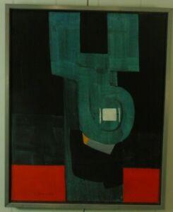 Rolf-Forster-034-Komposition-mit-weissem-Zentrum-034-signiert-datiert-1969-Acryl