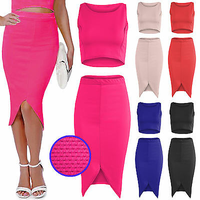 MüHsam New Ladies Crop Vest Top Midi Skirt Suit Womens Curved Hem Pencil Bodycon Skirts Exzellente QualitäT