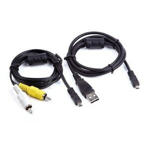 USB Data SYNC+AV A/V TV Video Cable For Nikon Camera Coolpix P500 P330 P320 P310