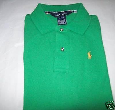 New Polo Ralph Lauren Girls Green Gold Golden Pony Logo Shirt Long Sleeves 5 5T
